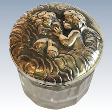 """Unger Brothers """"Love's Dream"""" Sterling & Cut Glass Dresser Jar - Psyche with Cupid - 1 5/8"""" Across - 1903"""