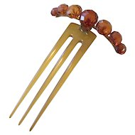 Faceted Amber and Horn 3 Prong Antique Hair Comb - Stunning!