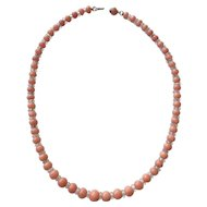Victorian Coral Choker Length Necklace with Crystal Spacers