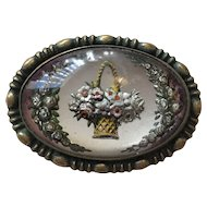 Glass Crystal Pin with Basket of Flowers & Garlands - Circa 1920's