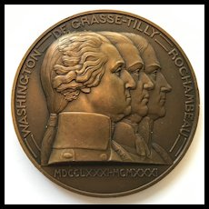 """Large Bronze Deco French Medal - """"Capitulation de York Town"""" - Artist  P. Turin - Made in 1931 for the 150th Anniversary"""