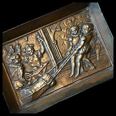 Brass Christmas Card Tray with Yule Log and Court Jester Scene - Fun!