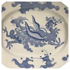 "Large English Mason's Platter - Chinese Dragon Pattern in Blue - 18 3/4"" Long - Circa 1820 - Fantastic!"