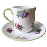 Miniature Shelley Porcelain Cup and Saucer - Rose Bouquets Pattern