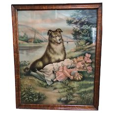 """Large Chromolithograph Print of a Dog Watching over a Girl - Entitled """"TOUCH HER IF YOU DARE"""""""