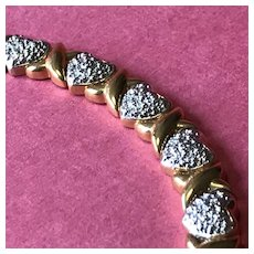 """Sterling Silver Heart Bracelet - Sparkling Hearts and Gilded """"X's"""" For Kisses !"""