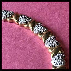 "Sterling Silver Heart Bracelet - Sparkling Hearts and Gilded ""X's"" For Kisses - Valentine!"