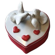 Lovely Ceramic Heart Trinket Box with Loving Doves - Valentine!