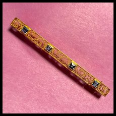 Big Beautiful 14K Yellow Gold & Sapphire Filigree Bar Pin - Circa 1910