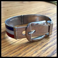 Great Gucci Buckle Sterling Bangle with Red white and Blue Enamel