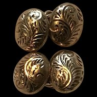 Heavy Silver Gilt Chain Link Cufflinks with Engraved Design - Great Quality
