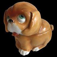 Comical Ceramic Dog Shaped Box - Circa 1930's