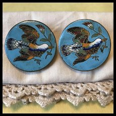 Gorgeous Pair of Large Antique Enamel Cuff Buttons with Birds
