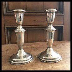 "Pair of Empire Sterling Silver Candlesticks - Mid Century - 6 1/4"" High"