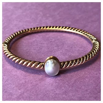 14K Gold and Blister Pearl Bangle