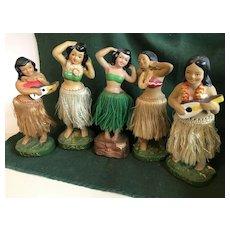 5 Fabulous Hawaiian Hula Girls - Waist Bobber / Nodder - Japanese Made in the 1950's