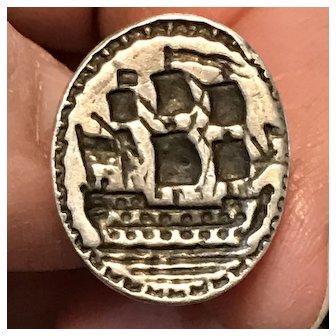 18th Century Georgian Silver Fob Seal with Man-of-War