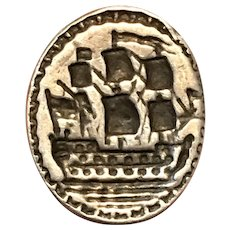 18th Century Georgian Silver Fob Seal with Man-of-War