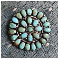 Large Navajo Turquoise and Silver Pendant / Pin