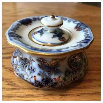 Meissen Porcelain Inkwell with Bird and Floral Motif and Gold Accents