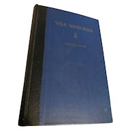 """War Memories"" By Marshal Stearns - First Edition 1937"