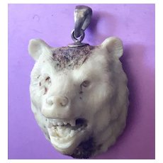 Carved Stag Horn Bear Pendant with Sterling Silver Bail