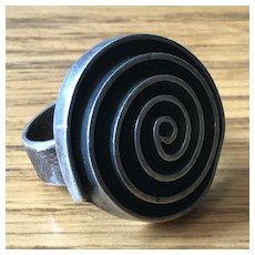 Large Modernist Sterling Silver Mexican Ring - Spiral Design