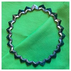 Stunning Enrique Ledesma Sterling Malachite Modernist Necklace - Mid Century Taxco, Mexico