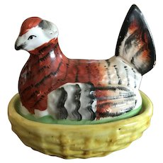 Small Antique Staffordshire Hen on Nest