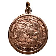 14K Gold St. Christopher Charm - Good Weight - Dated Christmas 1962