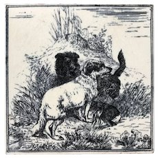 Minton & Hollins Earthenware Tile with Dogs - Circa 1880's