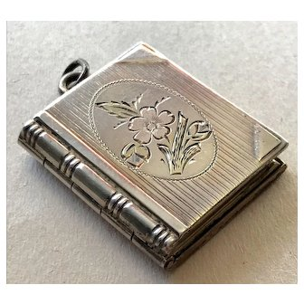 Lovely Sterling Silver Book Form Locket - 3 Inner Leaves for 4 Photos