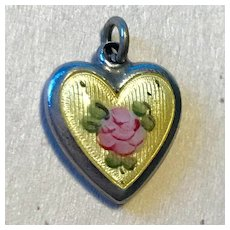 Perfect Puffy Heart with Rose - Sterling Silver - Guilloche Enamel - Yellow Pink & Green