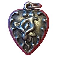Sterling Puffy Heart with Calla Lily - 1940's