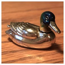 Large Wonderful Sterling and Enamel Duck Pin