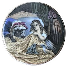 19th Century Prattware Pot Lid - Little Red Riding Hood and the Wolf