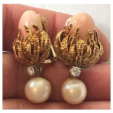 14K Gold Angel Skin Coral Diamond and Pearl Clip on Drop Earrings with Detachable Pearls