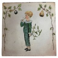 Maw & Co. Tile - Boy with  Mistletoe and Fruit Trees - Hand Painted - circa 1870