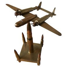 World War ll Trench Art- Lockheed  P-38 Lightning Fighter