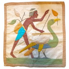 Charming Egyptian Linen Textile - Man with Ibis - Hand Stitched