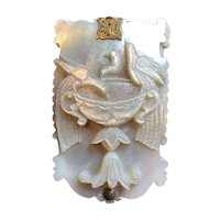 Beautiful Carved Mother-of-Pearl Aide Memoire Depicting The Doves of Pliny - Mid 19th Century