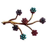 Beautiful 18K Fantasy Floral Pin with Sapphires, Rubies, and Turquoise - Italian 1960's
