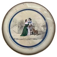 Large Mid 19th Century Candy Box with Reverse Painting - Lovers with Dog