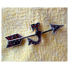 "Bohemian Garnet Arrow Pin with the Letter ""J"""
