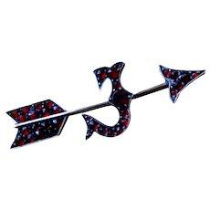 "Bohemian Garnet Arrow Pin with the Letter ""J"""