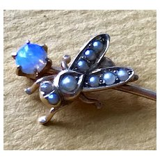 14K Gold Victorian Fly Stickpin with Opal and Pearls