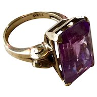 Amethyst 1940's Cocktail Ring - 10K Gold - Size 6 1/2