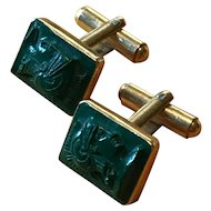 14K Gold Cufflinks with Carved Stone Warriors - Mid Century Links