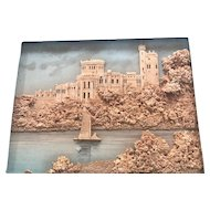 Framed Antique German Cork Picture of a Castle Overlooking a River