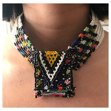 Multicolored African Beaded Necklace / Choker - Maasai